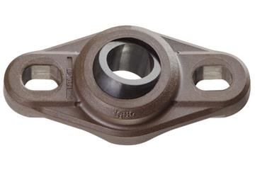 High-temperature flange bearings with 2 mounting holes, EFOM-HT, igubal®, spherical ball iglide® T500