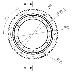 Slewing ring bearing with gear teeth